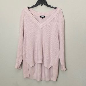 Express Oversized Deep V-Neck Tunic Sweater